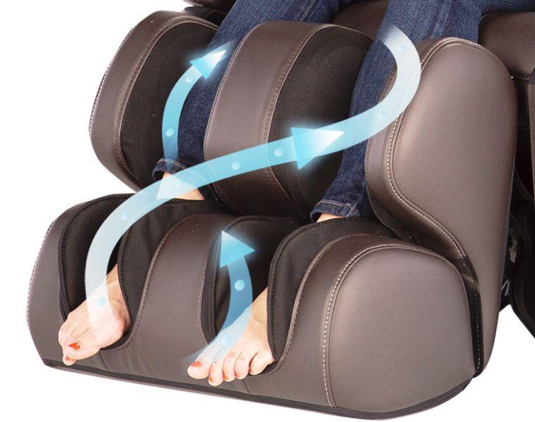 роликовый массаж стоп и прессомассаж голеней в массажном кресле acutouch 6.0